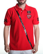 Men Slant Pu Detail Polo Red X-Large