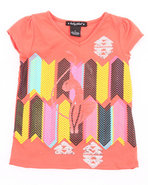 Girls Geometric Kitty Tee (4-6X) Orange 5/6