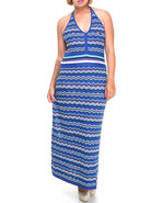 Women Striped Knit Maxi Dress (Plus) Blue 1X