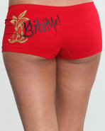 Women Bite Me 2 Single Seamless Boyshort Red Mediu