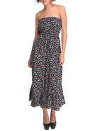 Women Smocked Shali Ditsy Print Maxi Black Large