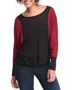 Women Color Block Long Sleeve Top Maroon Small