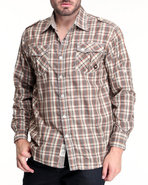Men Alaska Plaid Button-Down Shirt Brown X-Large