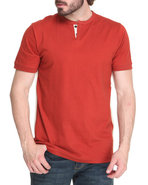 Men Thompson Y-Neck T-Shirt Red Large