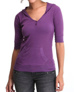 Women Ribbed Hoodie Henley Purple Small