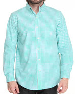 Men Gullah Sea Gingham L/S Button Down Shirt Teal