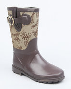 Girls Apple Buckle Signature Print Rainboot Brown 