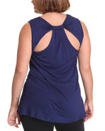 Women Sleeveless Back Detail Top (Plus) Navy 3X