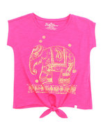 Girls Elephant Tie Front Top (7-16) Pink 12/14 (L)