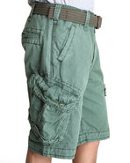 Men Rip Stop Cargo Shorts Green 36