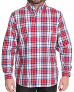 Men Marina Plaid L/S Button Down Shirt Red X-Large