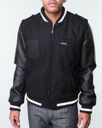 Men Varsity Racer Jacket W/ Oversized Crest Patch