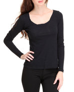Women Long Sleeve Scoop Neck Top Black Medium