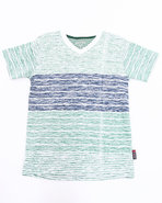 Boys Slub Striped V-Neck Tee (8-20) Green 8/10 (S)