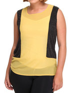 Women Chiffon Sleeveless Top (Plus) Yellow 3X