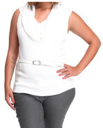 Women Sleeveless Cowl Sweater (Plus) White 2X