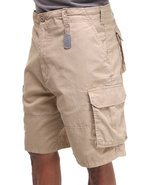 Men Vintage Paratrooper Cargo Shorts Khaki Large