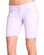 Women 3 Button Bermuda Jean Short Purple 9/10