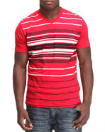 Men V-Neck Stripe Engineered Tee Red X-Large