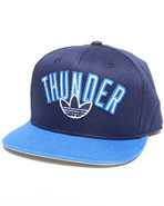 Men Oklahoma City Thunder Flat Brim Snapback Hat B