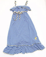 Girls Striped Ruffle Maxi Dress (4-6X) Blue 5/6 (M