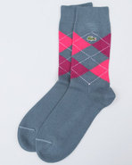 Men Green Croc Argyle Novelty Crew Socks Blue