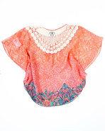 Girls Floral Print Butterfly Top (7-16) Pink 12/14