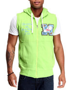 Men French Terry Hoody Vest W/ Patch Detail Lime G