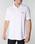 Men Summer Window Pane Polo White X-Large