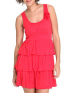 Women Ruffle Tiered Sun Dress W/ Flowers Red Large