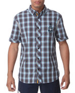 Men Leadman Short Sleeve Woven Blue Small
