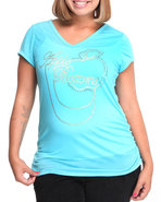 Women V Neck Tshirt (Plus) Light Blue 1X