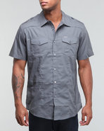 Men Solid Poplin Military Shirt Grey X-Large