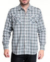 Men Alaska Plaid Button-Down Shirt Grey Large