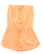 Girls Neon Romper (7-16) Orange 10/12 (M)