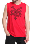 Men Cracker Op Art Tank Red Small