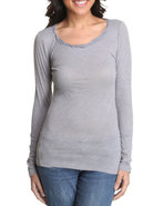 Women Long Sleeve Scoop Neck Top Grey Small