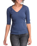 Women Ribbed Hoodie Henley Navy Small