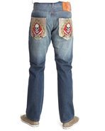 Men Sword And Skull Embellished Jeans Medium Wash