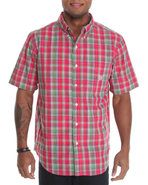 Men Sapelo S/S Plaid Shirt Light Pink Large