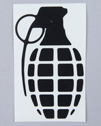 Men Grenade 4  Die Cut Sticker Black