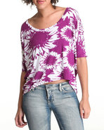 Women Hi-Lo Flower Knit Top Purple Large