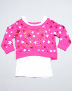 Girls 2 Fer Pull Over (Big Girls) Pink 12/14 (L)