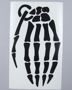 Men Skeleton Grenade 9  Die Cut Sticker Black