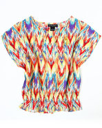 Girls Printed Chiffon Top (7-16) Red 12/14 (L)