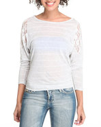 Women Honey Cup Basic 3/4 Sleeve Tee Off White Med