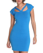 Women Cut Out Sexy Dress Blue Small