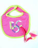 Girls Bib &amp; Pacifer (Newborn) Pink