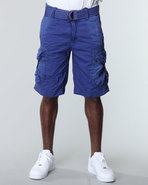Men Cargo Short W/ Buckle Pockets Blue 38