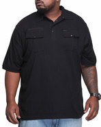 Men Solid Military Polo (B&T) Black 3X